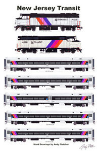 "NJ Transit Commuter Train 11""x17"" Poster by Andy Fletcher signed"