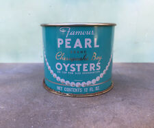 Vintage Pearl Brand 12oz Oyster Tin Annapolis, MD. Nice!  FREE Ship!!