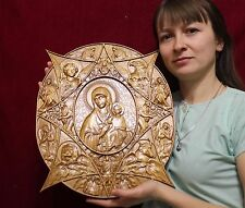 Icon Burning bush Mother of God Orthodox wooden carved picture. Great gift. 19""