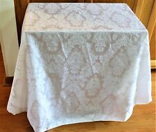 "White Brocade Fabric 72"" Round Table Cloth by AVONhome"