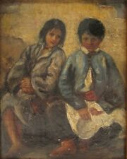 Antique Oil Painting Circa 17th-18th Century Not Signed Showing 2 Children Sit