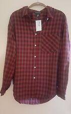 NEW American Apparel Long Sleeve Button Down Shirt Frankie Plaid MEDIUM **SALE**