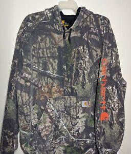 Carhartt Mossy Oak Camo Hoodie Mens 2XL Hunting Original Fit Logo Sweatshirt