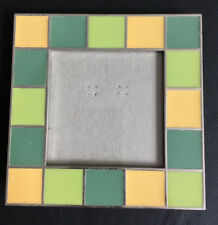 CARR small square photo frame green yellow teal geometric tiles new