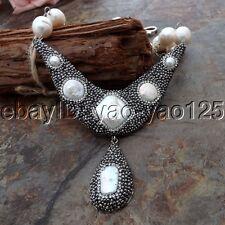 K062907 18'' White Rice Pearl White Keshi Pearl Necklace Biwa Pearl Pendant