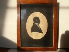 Antique silhouette of a gentleman dated 1823 string inlaid wood frame