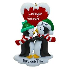 PERSONALIZED Penguin Kisses Couple - Love You Forever - Christmas Ornament Gift