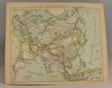 Asia & Europe Rare Political Map  | Original Collectable Antique Print 1893-97