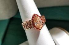 Ross Simons 18k Rose Gold/Sterling silver peach-orange/red engagement ring