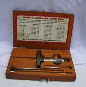 Vintage Starrett #440 Micrometer Depth Gauge  with Wood Box