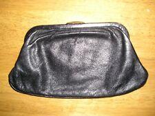 Vintage 60s SOFT BLACK LEATHER CLUTCH BAG PURSE Floral Cotton Lining