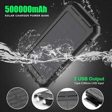 500000mAh Waterproof Solar Power Bank 2USB Portable External Battery Charger US