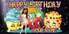 "Birthday banner Personalized ""FREE SHOPKINS3"" with your Photo and Name 6x3 feet"