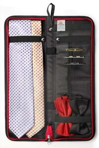 """Travel Essentials Travel Tie Case, Black (17"""" X 6"""") with Cuff Link and Tie Clips"""
