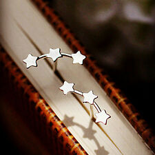 Fashion Women Lady Silver Plated Triple Stars Ear Stud Earrings 1 Pair