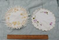 2 Antique Silk Society Work Hand Embroidered Florals On Linen Doilies