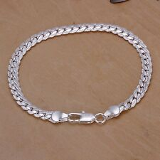 Pretty 925 Sterling Silver Plated Fashion 5MM snake chain Bracelet jewelry H199