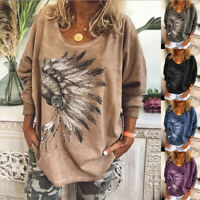 Womens Summer V Neck Print Tops Blouse Tee Ladies Long Sleeve T Shirts Size 6-24