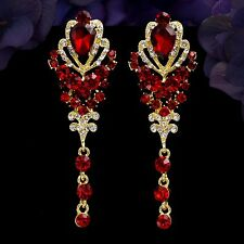 18K Gold Plated GP Red Crystal Rhinestone Wedding Drop Dangle Earrings 06297