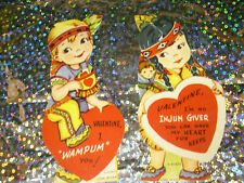 2 unused indian style american Vintage Valentine Card Lot