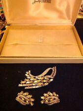 Vintage Crown Trifari Yellow Clear Rhinestone Cluster Pin Earrings Set