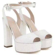 GIUSEPPE ZANOTTI Betty White Glitter Platform Sandals Clogs 8 8.5 10 AUTH NIB