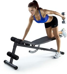 Weider XR 5.9 Adjustable Slant Workout Bench with 4-Roll Leg Lockdown and Chart