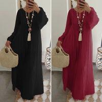 Womens Long Sleeve Pleated Casual Holiday Long Maxi Dress Shirt Dress Plus Size