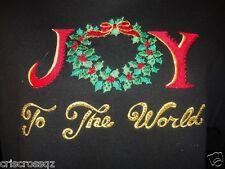 QUACKER FACTORY * Joy to the World embroidered BLACK Tunic Sweatshirt TOP * S M