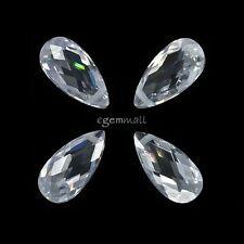 4x Cubic Zirconia Flat Pear Drop Briolette Beads 6x12mm Clear White #64511