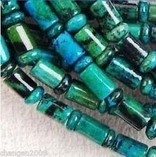 "6x9mm Azurite Chrysocolla Gem Column Loose Bead 15"""