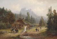 "Wonderful oil painting happy peoples in nice landscape & horseman canvas 24""x36"""