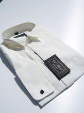 Hombre Marfil Crema Traje De Novia FLY Camisa Cuello Pajarita 49.5cm