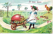 Wheel Barrel Large egg girl Easter Embossed Postcard