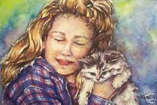 Girl Child Kitten Cat  O/E  Print ACEO by Vicki