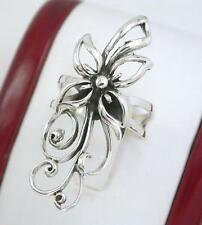 ELEGANT STERLING SILVER LONG DETAILED FLOWER RING size 10  style# r1081