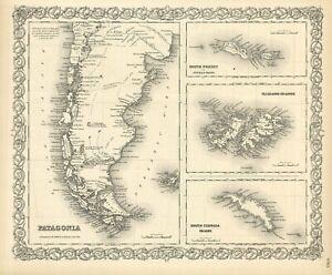 "1859 Colton's  ""Patagonia,Falklands (Malvinas), S Orkney &. S Georgia"