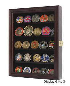 Challenge Coin Display Case Cabinet Pin Medal Shadow Box, Real Wood Real Glass