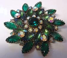 Vintage Juliana Emerald Green Aurora Borealis Large Rhinestone Pin Brooch