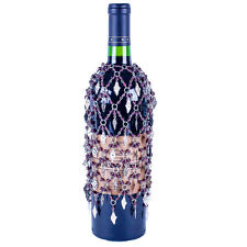 PURPLE BEADED WINE BOTTLE COVER SKIRT WITH SILVER GRAPE CLUSTERS