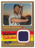 CLAYTON KERSHAW 2020 TOPPS HERITAGE CLUBHOUSE COLLECTION GOLD JERSEY #86/99