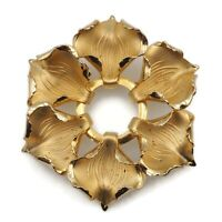 Vintage Gold Tone Satin And Smooth Openwork Flower Brooch Scarf Lapel Pin