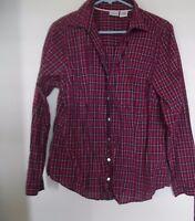 WOMEN'S L L BEAN Maroon Pink White Plaid Button  Button Down Top Shirt Sz  L