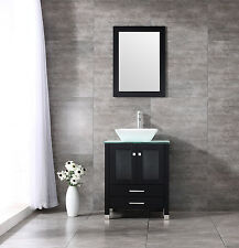 25� Ceramic Sink Wood Bathroom Cabinet w/Mirror And Temepered Glass Countertop