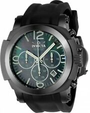 New Mens Invicta 22279 Chronograph MOP Dial Black Rubber Strap Watch