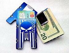 American Flag Punisher, Aluminum Wallet/Credit Card Holder, RFID Protection,Blue