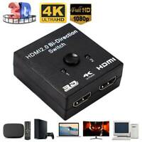2 Port HDMI Umschalter Switch Splitter Verteiler 1 IN 2 OUT 4K 3D HD 1080p Dolby