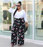 Lane Bryant Allie Pants Womens Plus Size 22 Black Floral Print Wide Leg Hi Rise