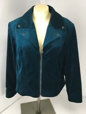 Chicos Womens 2 Large Velveteen Moto Jacket Darkest Teal Zip Up Velvet L