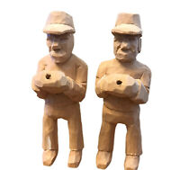 Hand Carved Wood Man In Cap Hat Holding Package Lot of 2 Men Unpainted